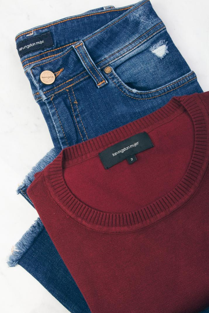 Pack Jean + Sweater Bordeaux Mujer