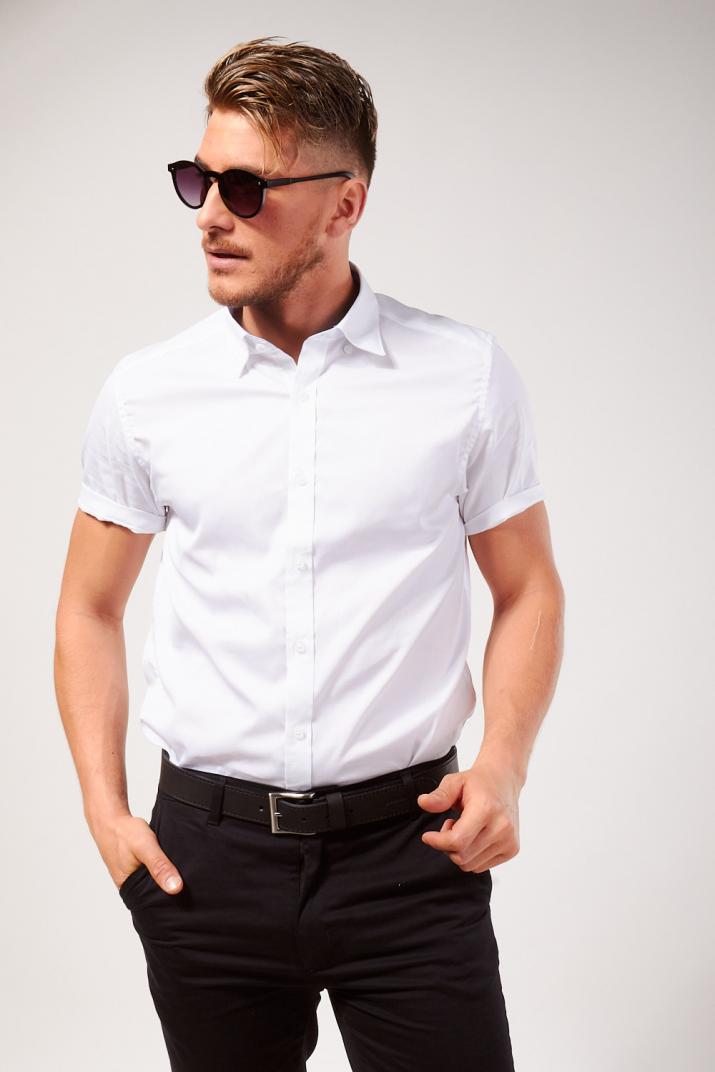 Camisa Temple lisa de poplín Slim fit