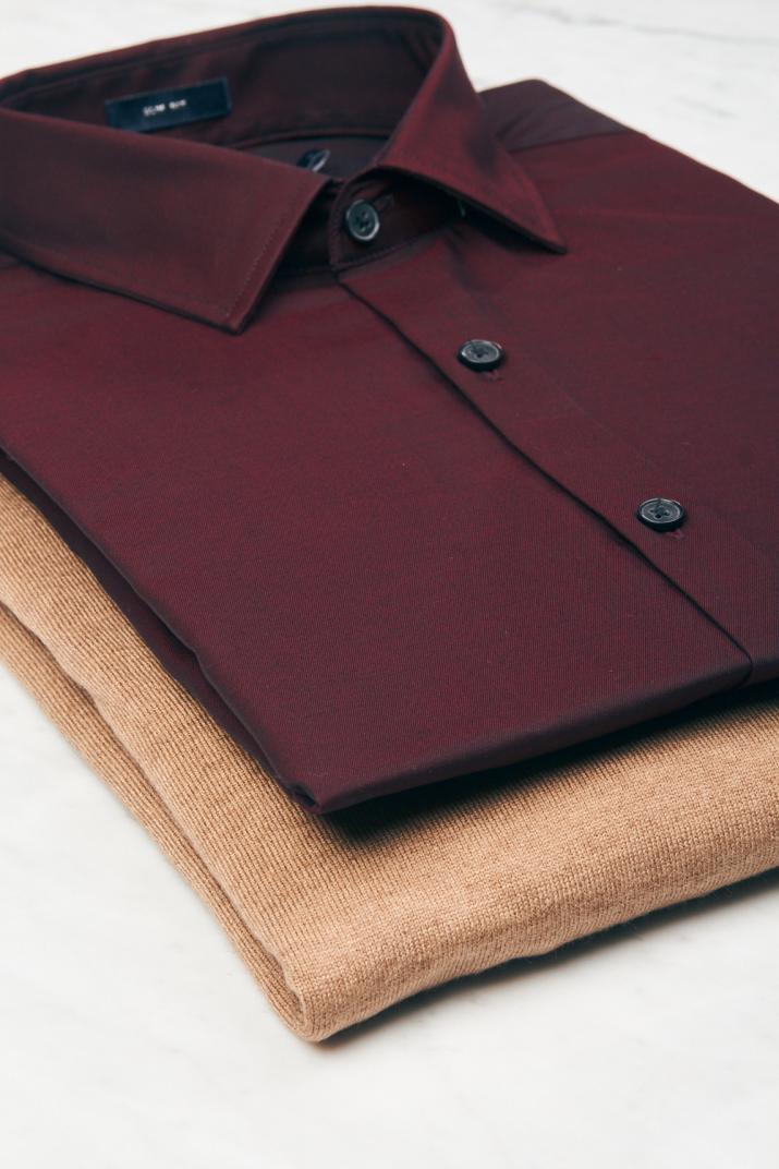 Camisa Saturday II de algodón lisa Slim fit