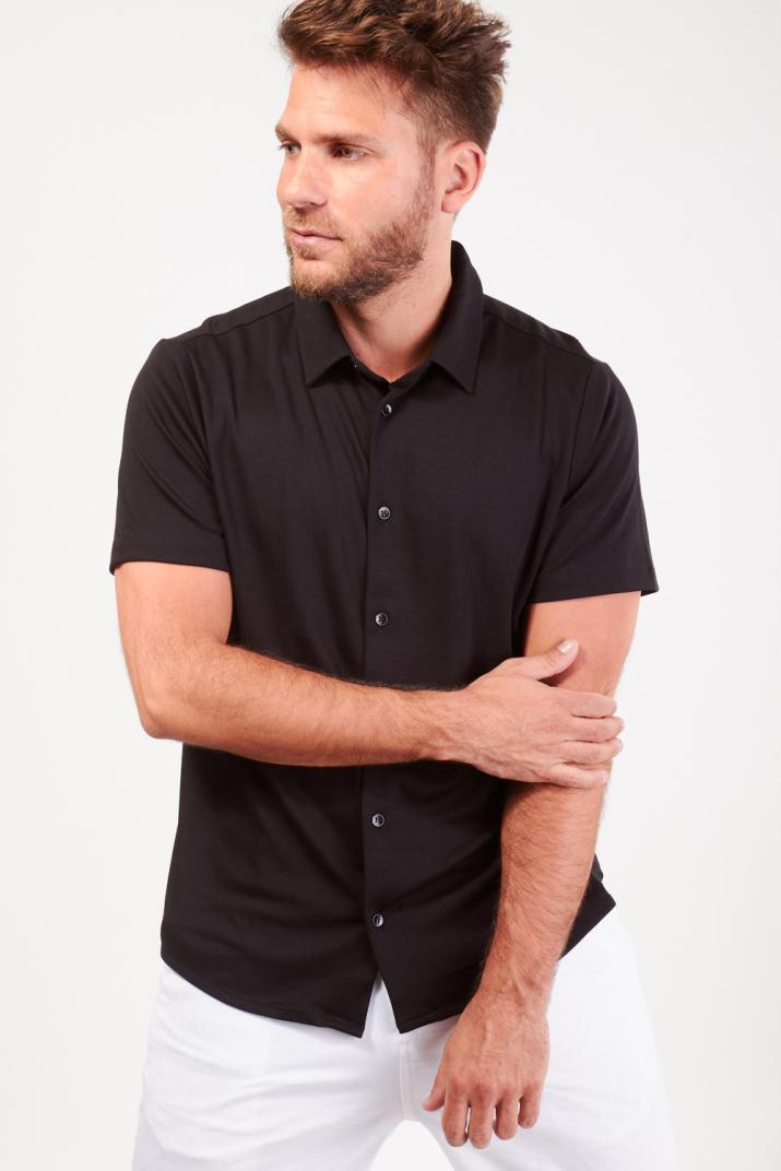 Camisa Velvet de jersey lisa manga corta Slim fit