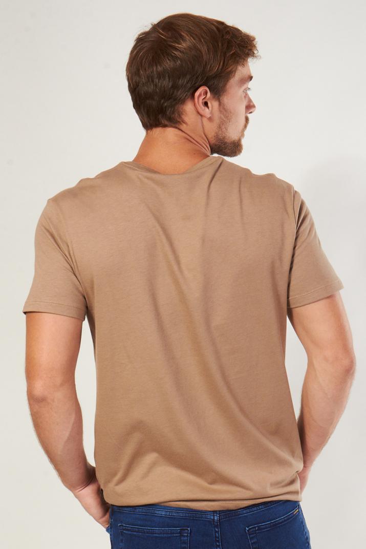 Remera Ruddy de algodón lisa con escote en V Classic fit