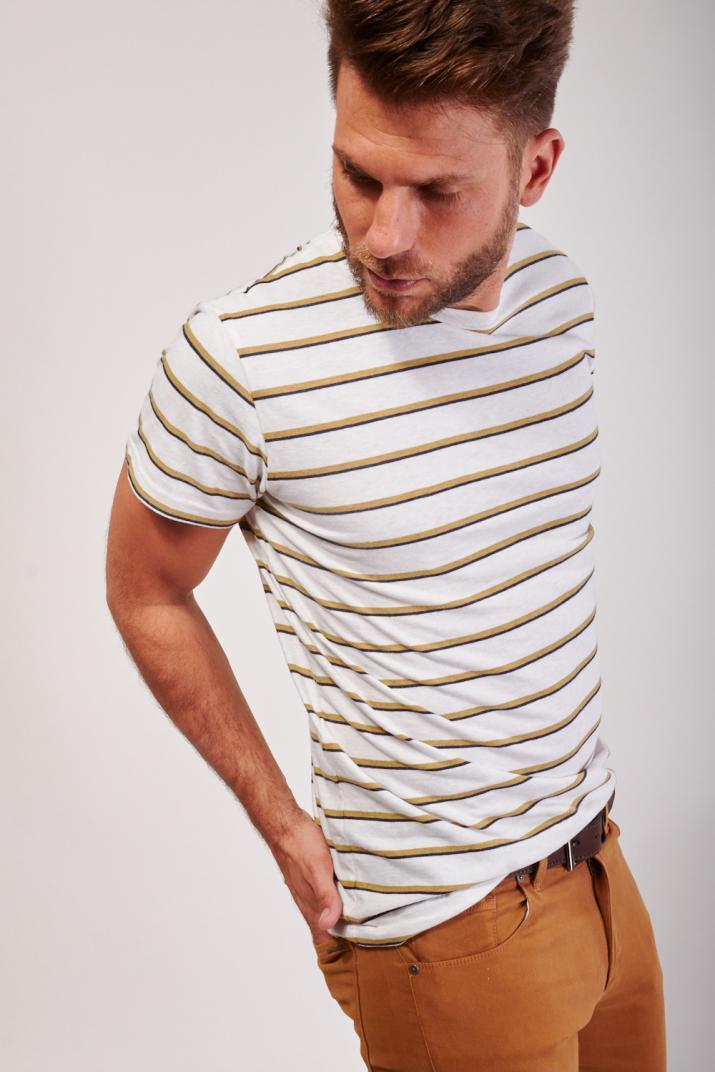Remera Veuve rayada de algodón Slim fit