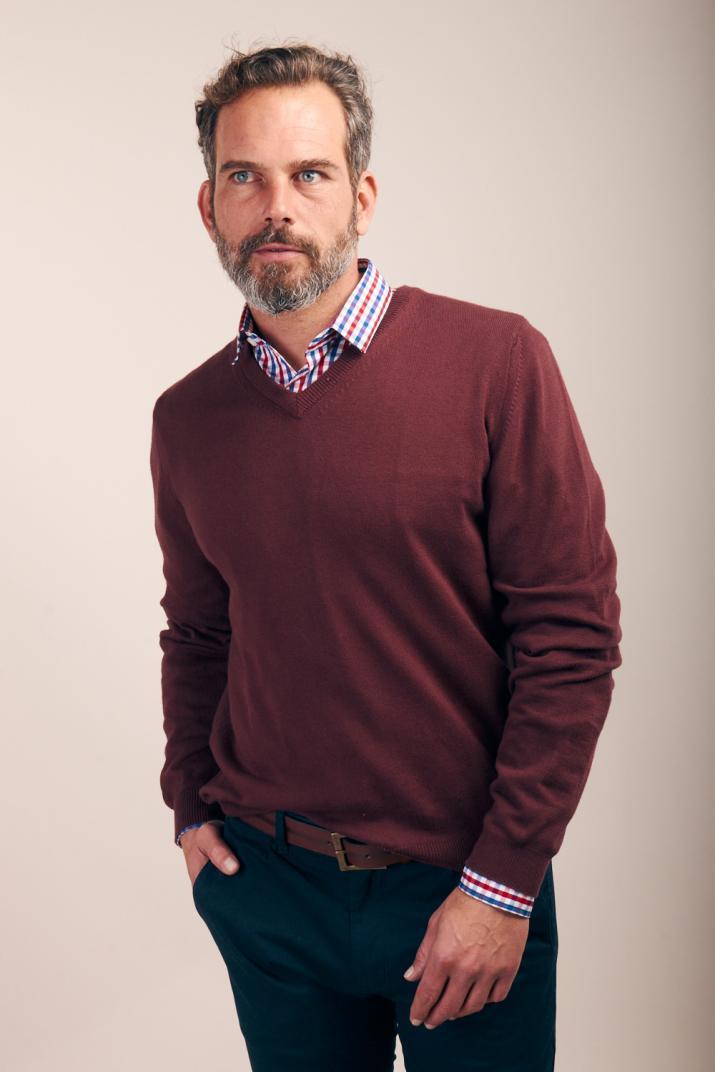 Sweater Brixton de algodón peinado con escote en V Classic fit