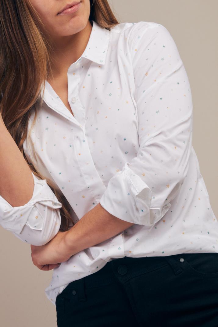 Camisa Lirio estampada manga larga