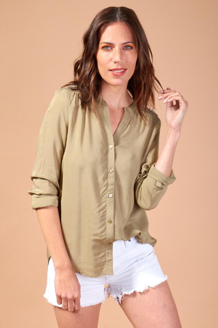 Camisa Goldie con apliques de lentejuelas y piedras
