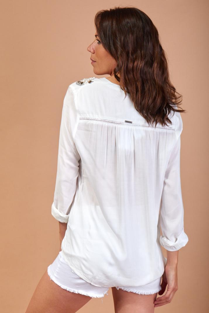 Camisa Goldie manga larga con apliques de lentejuelas y piedras