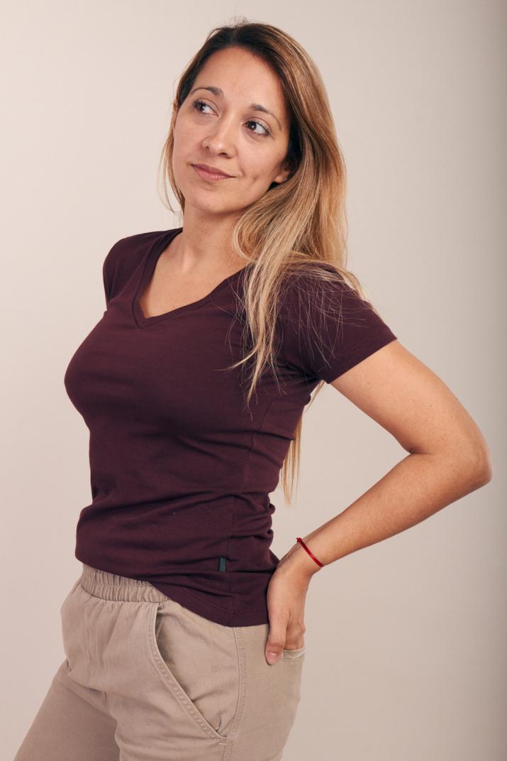 Remera Lina de jersey con escote V