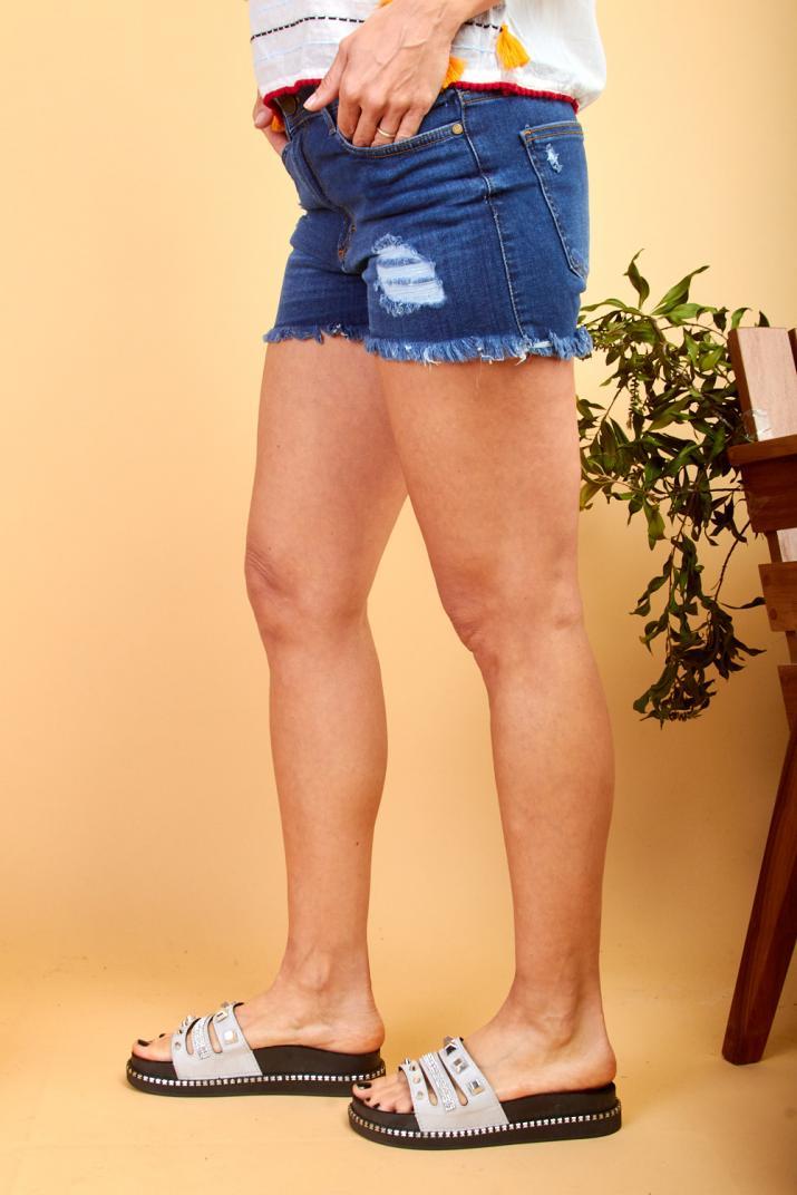 Short Rotter III de jean con roturas